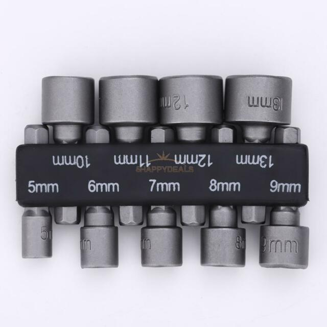 "9Pcs 1/4"" Hex Screw Nut Driver Set Metric Socket Impact Drill Bits 5 to 13mm #5H"