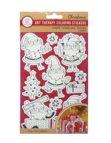 Colour Your Own Christmas Xmas Stickers 4 x Sheets Crafts Kids Stocking Filler