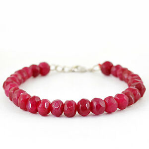TempéRé Rare 132.45 Cts Earth Mined Rich Red Ruby De Forme Ronde à Facettes Perles Bracelet-afficher Le Titre D'origine Lustre Brillant