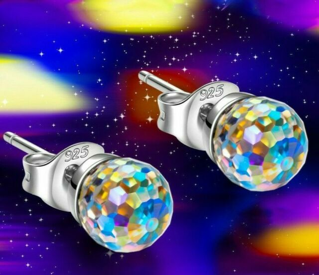 Handmade with Swarovski Earrings-6mm AB Aurora Borealis Crystal-Hypoallergenic