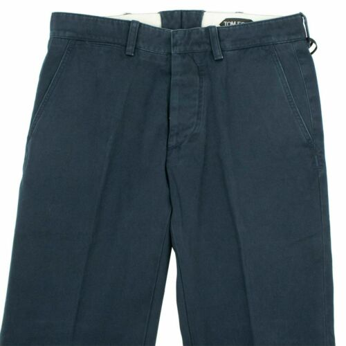 NWT TOM FORD Navy Blue Cotton Classic Fit Pants Size 32 $1095