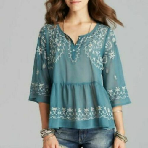 Free People Boho Peasant Embroidered Sheer Blouse