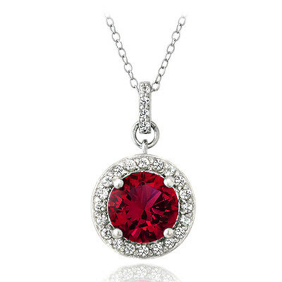 """925 Silver 2.75ct Created Ruby & White Sapphire Round Necklace, 18"""""""