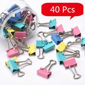 40Pcs-Office-Foldback-Binder-Clips-Paper-Document-Bulldog-Metal-Grip-KN