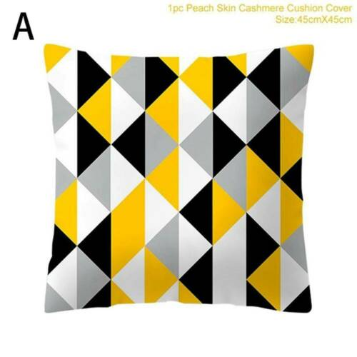 Fashion Geometric Cushion Mustard Yellow and Grey Home Decor Sofa Case Cover UK