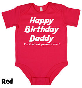 Image Is Loading Happy Birthday Daddy Dad Baby Grow Boy Girl