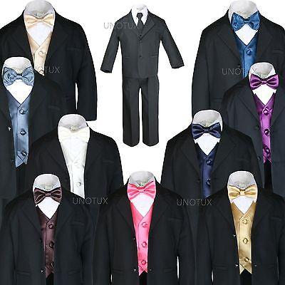 S-20 Unotux 7pc Boy Black Suit Tuxedo Tail Satin Royal Blue Bow Tie Cummerbund
