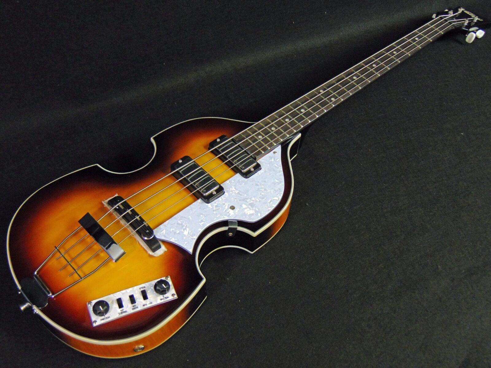 Vintage VVB4SB Violin Bass Antique Sunburst Professional Set Up W FREE Bag