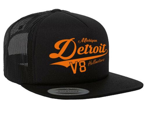 Detroit Hellmotors Flexfit Trucker Snapback Cap Oldschool Hotrod Kappe schw//oran