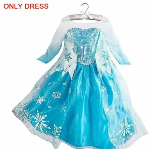 Snow Queen Cosplay Princess Dresses for Girls Birthday Party Dress Accessory Set