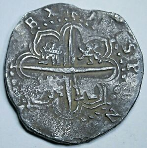 1589-Dated-Spanish-Silver-2-Reales-Cob-Antique-Genuine-1500s-Two-Bit-Pirate-Coin