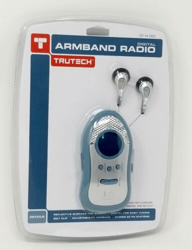 Trutech Portable Armband Digital FM Radio 20 Stations Presets w// Clip /& Earbuds