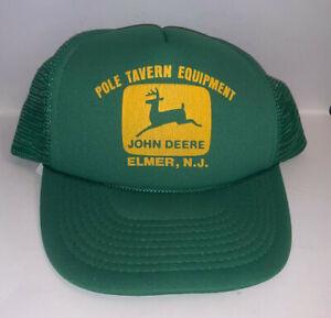Vintage Mesh Foam Trucker Hat John Deere Pole Tavern Equipment Elmer New Jersey