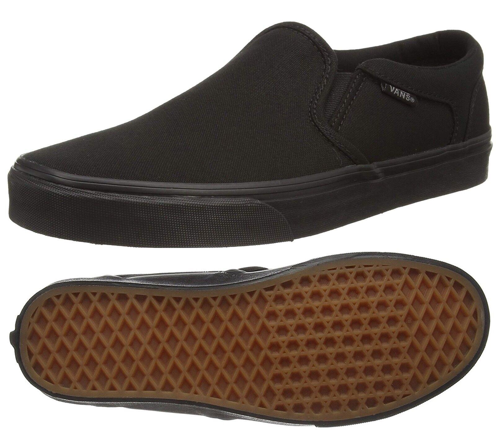 VANS Asher Mens Canvas Skater Trainers Plain schwarz Schuhes Slip On Plimsolls schwarz Plain 4ab7c4