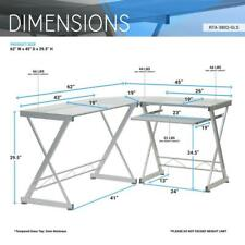 L Shaped Tempered Glass Top Computer Desk With Pull Out Keybaord Panel