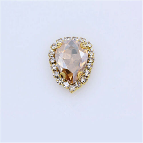 10pcs 18x25mm sew on rhinestone teardrop cabochons crystal glass DIY dress bling