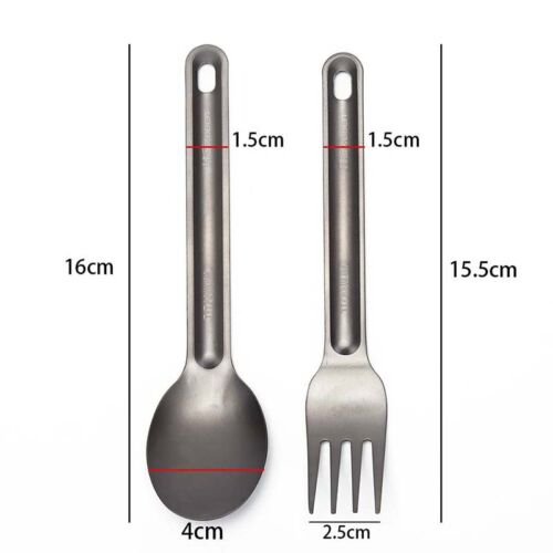 Light Weight Titanium Spoon Fork For Outdoor Camping Tableware FE