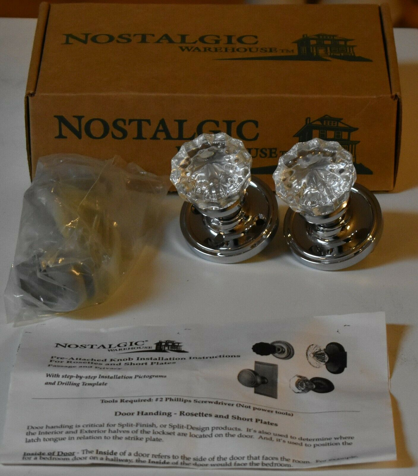 Nostalgic Warehouse Classic Rosette Waldorf Crystal Door Knob Privacy Chrome
