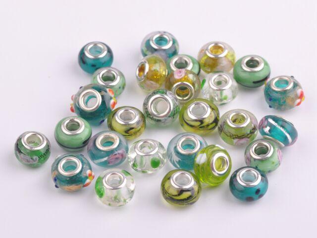 20pcs 15x9mm Lampwork Glass Murano European Charm Big Hole Loose Beads Green Mix