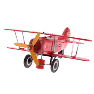 Retro-Wind-Up-Aircraft-Plane-Clockwork-Metal-Tin-Toy-Collectible-Gift-Red