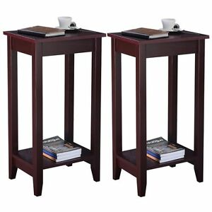 Set of 2 COSTWAY Tall End Table Coffee Stand Night Side Accent Furniture Brown