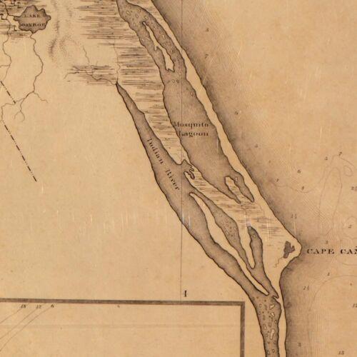"Huge MAP State of FLORIDA Coastal Waterways Vintage circa 1829 24/"" x 60/"""