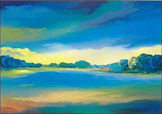 Hans Paus  Timeless II Keilrahmen-Bild Leinwand Landschaft blau Wolken Horizont