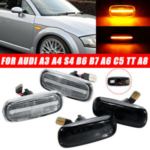 Pair-LED-Side-Marker-Turn-Signal-Light-Indicator-Amber-Lamp-For-Audi-A4-TT-A6-A8