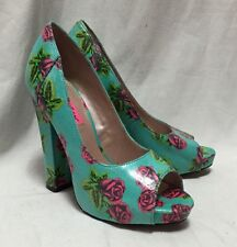 Betsey Johnson Betyy Tattoo Teal PinK Rose Floral 7M Chunky Heels Peep Toe Shoes