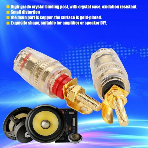 Gold Plated Audio Speaker Wire Cable Adapter Jack Connector Banana Plug 4mm