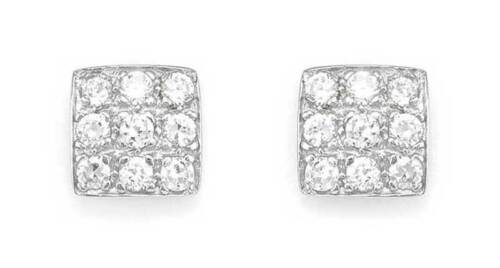 STERLING SILVER SOLID WHITE CUBIC ZIRCONIA CZ SQUARE STUD HUGGIE CUBE EARRINGS
