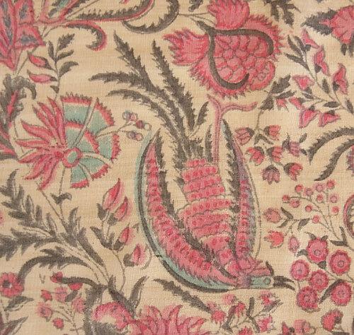 "Hand Block Printed Raw Tussah Silk Fabric Palampore Historic Design 42/"" Wide"