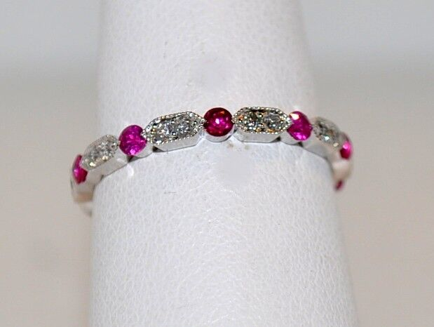 RUBY & DIAMOND ETERNITY RING-VINTAGE STYLE-18KT