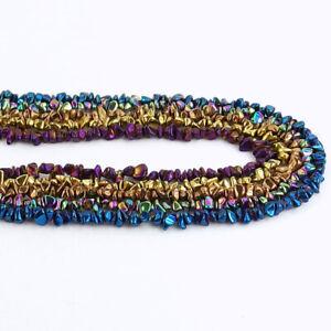 """Titanium Nautural Hematite Chip Gemstones 5-8mm Beads 16/"""" Jewelry Making Design"""