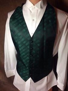 Shiny-Kelly-Green-Black-Geometric-Waves-Claiborne-Tuxedo-Vest-XL-Extra-Large