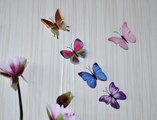 2x Stoffschmetterlinge bunt textil 3D Wandtattoo Wandsticker 10cm butterfly b