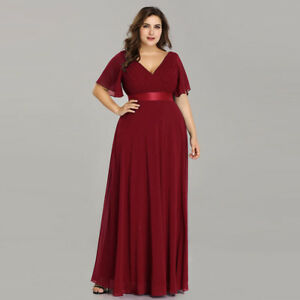 Ever-Pretty-Plus-Size-Burgundy-Bridesmaid-Dress-Chiffon-V-neck-Party-Gowns-09890
