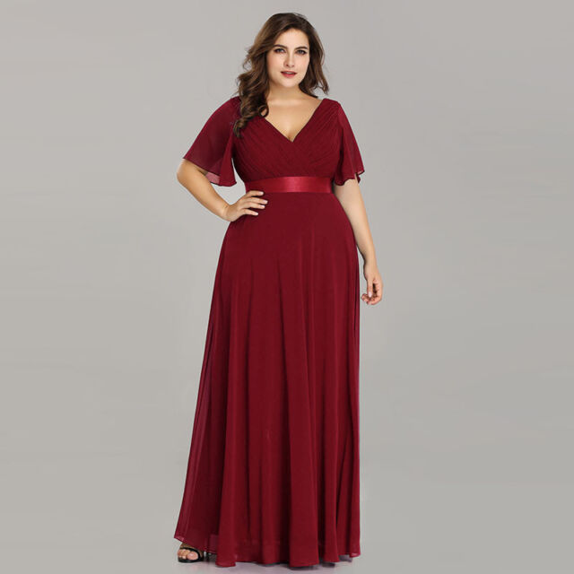 Ever-Pretty Plus Size Burgundy Bridesmaid Dress Chiffon V-neck Party Gowns 09890