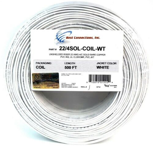 2 Rolls of 500' ft 22 Gauge 4 Conductor Solid Security Alarm Wire Cable  White