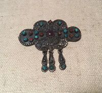 Vintage Mexican Sterling Silver Amethyst Coral & Turquoise Dangle Pin Pendant