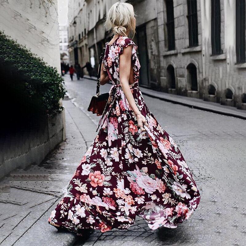 #5 Wein Rot - Blumen Abendkleid Bodenlang Kleider