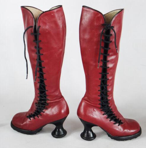 John Fluevog red 6.5 knee high boot lace up vintag