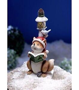renard-avec-livre-et-oiseau-sous-Lanterne-Solaire-LAMPADAIRE-Decoration-de-Noel