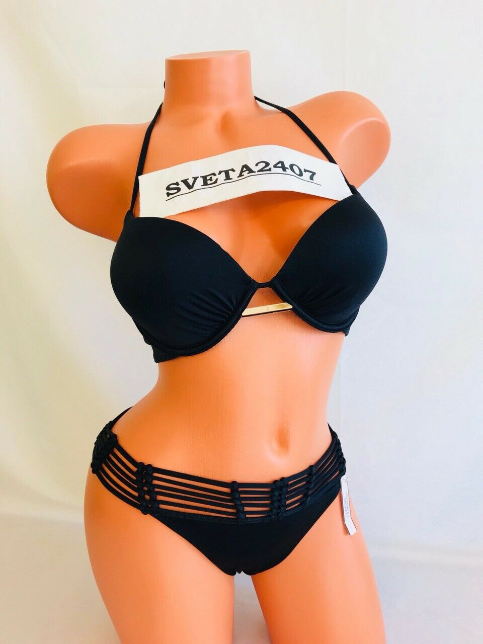 Victoria& 039;s Secret nuevo con etiquetas BIKINI  Negro  Bombshell +2Cup Halter  Puntilla macramé Itsy  36D L  envío rápido en todo el mundo