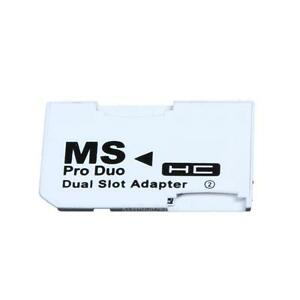 Dual slot Micro SD SDHC TF to MS Memory Stick Pro Duo Adapter Converter for PSP