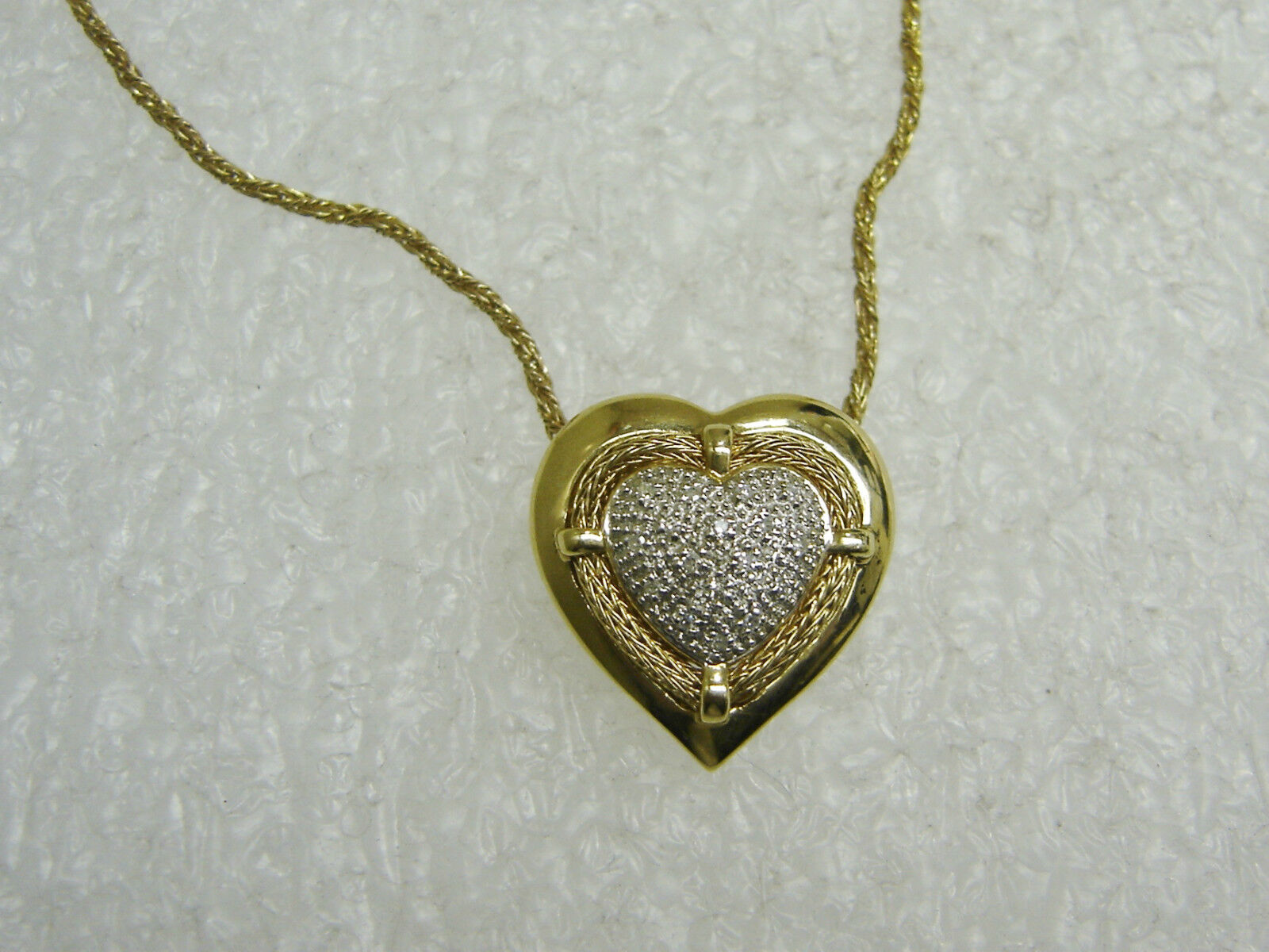 14K YELLOW gold DIAMOND HEART PENDANT AND 18'' TWISTED ROPE CHAIN NG27-N