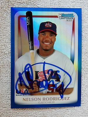 Cleveland Indians Nelson Rodriguez Signed 2010 Bowman Blue Refractor Auto #/99