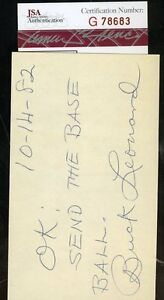 Buck-Leonard-Negro-Lea-Signed-Jsa-Certified-3x5-Index-Card-Authentic-Autograph