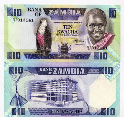 Zambia 1989-91 10 Kwacha Banknote UNC