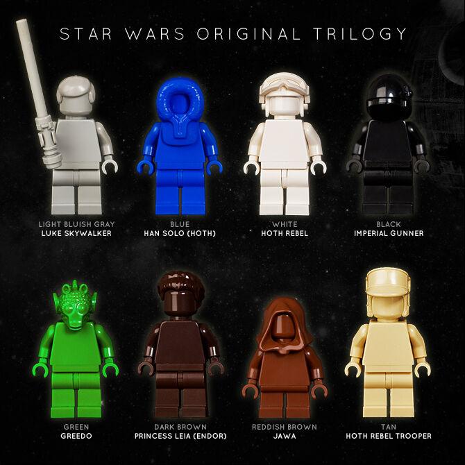 Lego  Conjunto de 8 Trilogía de la guerra de las Galaxias original monofigs